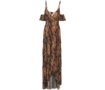 Cold-shoulder Snake-print Plissé-crepe Gown Animal Print
