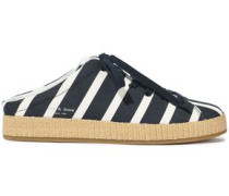 Rb1 Raffia-trimmed Striped Canvas Slip-on Sneakers Navy
