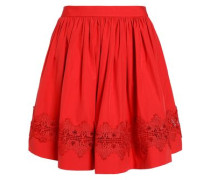 Lace-trimmed gathered cotton-poplin mini skirt