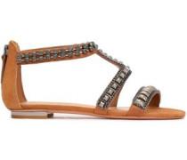 Embellished Suede Sandals Tan