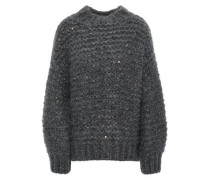 Sequin-embellished Mohair-blend Sweater Anthracite