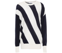 Woman Cetine Striped Silk And Cotton-blend Sweater White