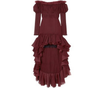Off-the-shoulder Ruffled Silk-georgette Dress Burgundy
