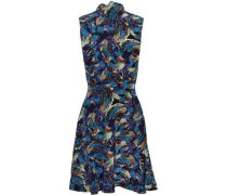 Pussy-bow Printed Silk Crepe De Chine Mini Dress Navy