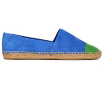 Two-tone Leather And Suede Espadrilles Cobalt Blue