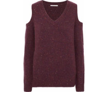 Page Cold-shoulder Marled Merino Wool-blend Sweater Burgundy