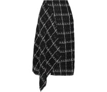 Keaton Draped Checked Cotton-blend Tweed Midi Skirt Black