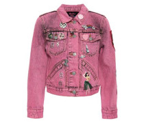 Embellished Cropped Denim Jacket Pink