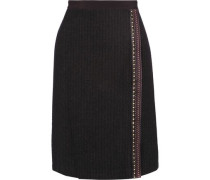 Embellished wool and silk-blend wrap skirt