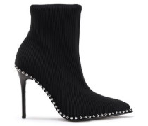 Eri Studded Stretch Ribbed-knit Ankle Boots Black