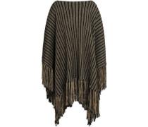 Fringed Metallic Wool-blend Jacquard Poncho Black