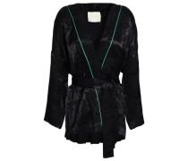 Belted Jacquard Jacket Black