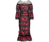 Floral-appliquéd Embroidered Point D'esprit Midi Dress Fuchsia