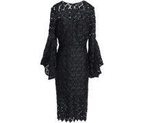 Fluted guipure lace midi dress