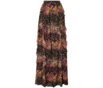Ruffled Floral-print Silk-georgette Maxi Skirt Black