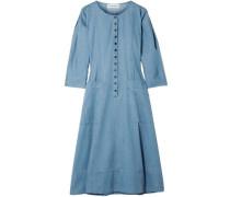 Fernwood Cotton-chambray Midi Dress Light Blue Size 0