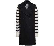 Striped Cashmere-paneled Wool Coat Black