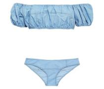 Off-the-shoulder Cotton-blend Stretch-jersey Bandeau Bikini Top Light Blue Size 1