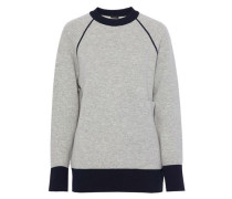 Two-tone ribbed-knit sweater