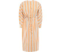 Striped Crinkled Cotton-blend Poplin Dress Sand