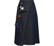 Wrap-effect Floral-appliquéd Denim Midi Skirt Dark Denim