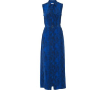 Belted printed washed-silk maxi dress