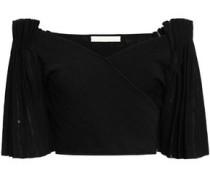 Cropped Off-the-shoulder Stretch-ponte Top Black