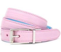 Lizard-effect leather belt