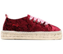 Satin-trimmed crushed-velvet espadrilles