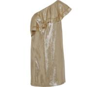 Marina one-shoulder ruffled silk-lamé mini dress