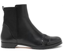 Snake-effect paneled leather ankle boots