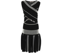 Crossover Sequin-embellished Jacquard-knit Dress Black