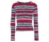 Cali Metallic Striped Stretch-knit Top Red
