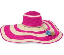 Corozon pompom-embellished striped straw sunhat