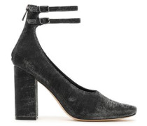 Leather-trimmed metallic knitted pumps