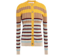 Striped Ribbed Cotton Cardigan Sand