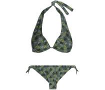 Printed Halterneck Bikini Army Green