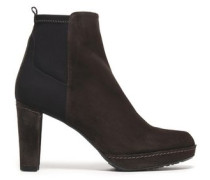 Paneled suede ankle boots
