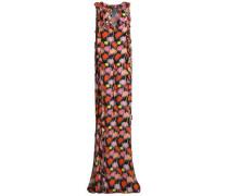 Ruffle-trimmed printed gauze maxi dress