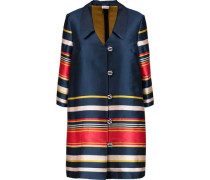 Striped satin-twill coat