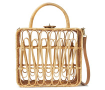 Safia Leather-trimmed Rattan Shoulder Bag
