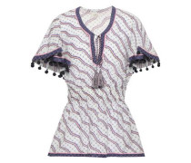 Pompom-embellished Printed Cotton And Silk-blend Peplum Top Lilac