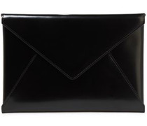 Glossed-leather Envelope Clutch Black Size --