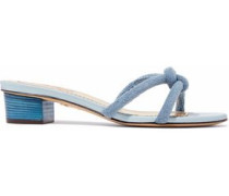 Knotted Terry Mules Light Blue