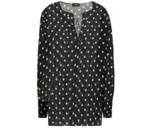 Woman Polka-dot Silk-chiffon Blouse Black