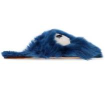 Embellished Shearling Slippers Cobalt Blue