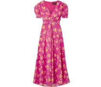Woman Lea Floral-print Silk Crepe De Chine Midi Dress Fuchsia