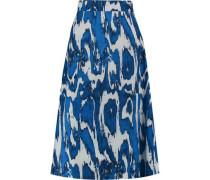 Woman Printed Wool And Silk-blend Crepe Skirt Royal Blue