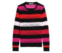 Striped pointelle-knit wool sweater