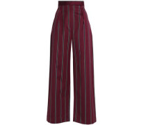 Striped wool and cotton-blend twill wide-leg pants